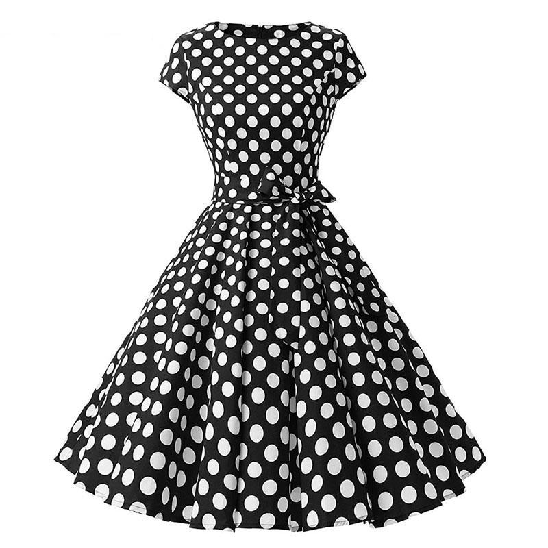 1950s Black Vintage Pin Up Polka Dot Rockabilly Dress