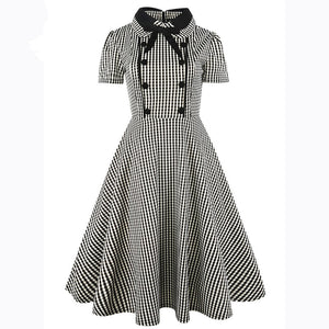 1940s Retro Vintage Rockabilly Plaid Dress