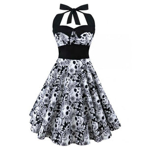 a4719f8ecee Womens Retro Vintage Style 3D Skull Floral Printed Halter Dress