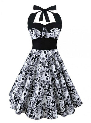 Womens Retro Vintage Style 3D Skull Floral Printed Halter Dress