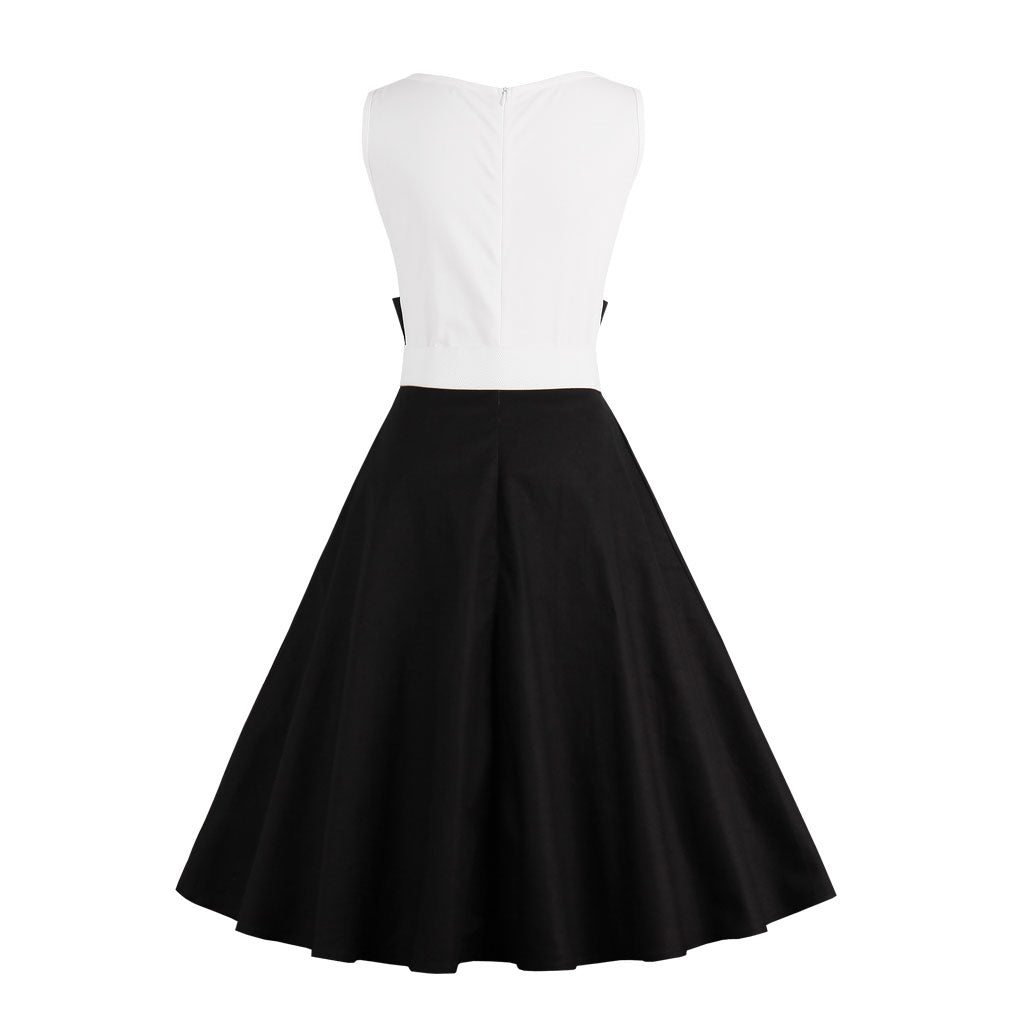Summer Retro Rockabilly A-Line Two-Tone Dress with Belt