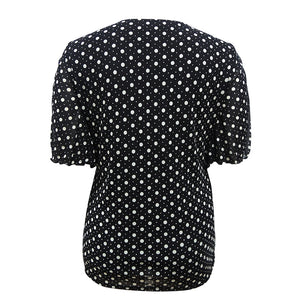 Womens Vintage 50s Polka Dot Diamond Bow Neck Batwing Sleeve Blouse