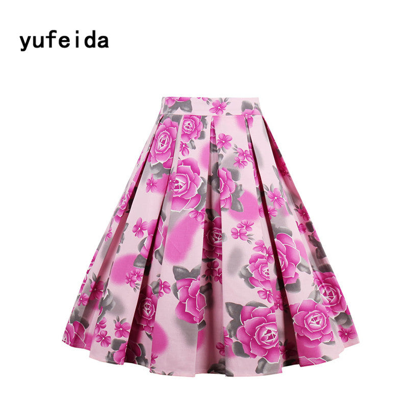Flower Print Vintage Rockabilly A-Line Skirt