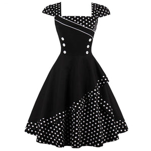 Womens Vintage Style 50s Rockabilly Knee-Length Sleeveless Dress