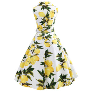 Turn Down Collar Vintage Dress in Lemon Print
