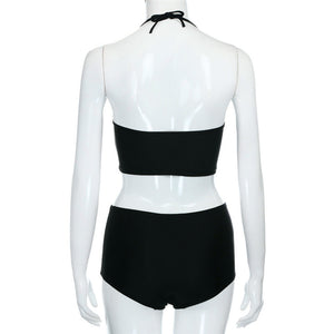 Black Sexy Vintage High Waisted Swimsuit