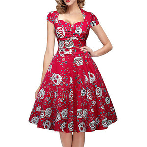 Womens Skull Print Vintage 50s 60s Square Collar Wrapped Rockabilly Pin Up Dress