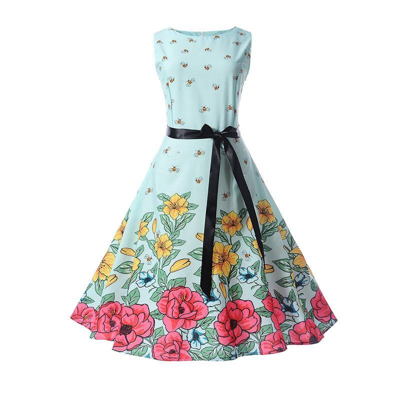 Vintage Retro Sleeveless A Line Autumn Party Dress