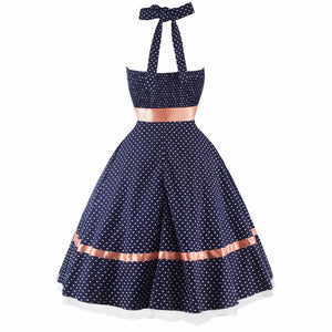 Vintage Style Sleeveless Halter Cutie Dress