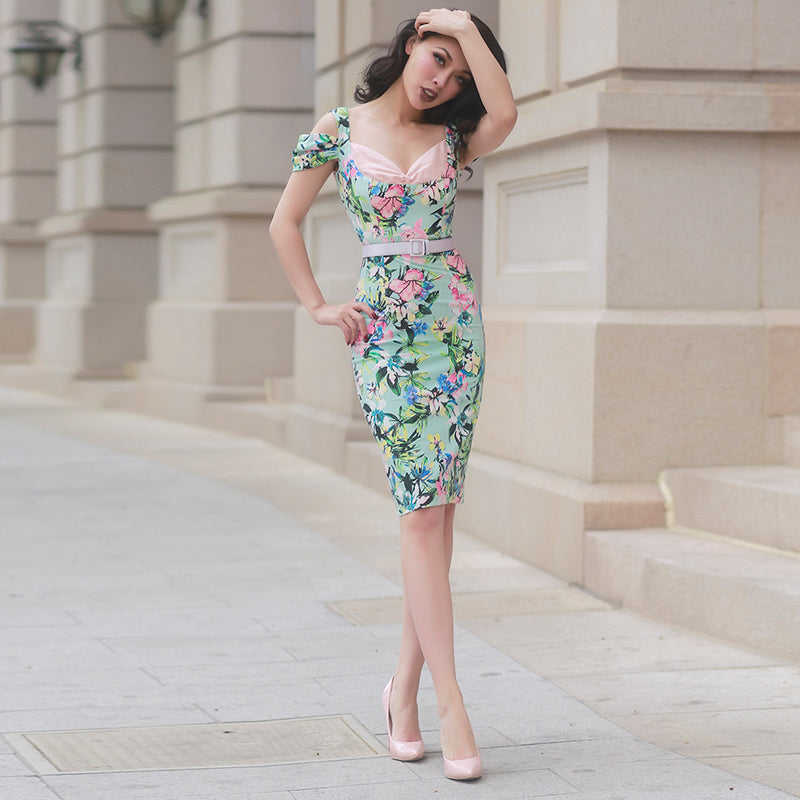 Floral Off Shoulder Slim Type Dress