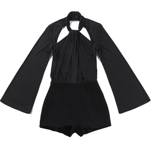 Sexy Backless Flare Sleeve Playsuit