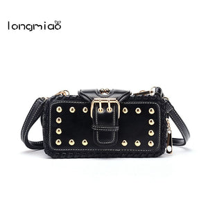 longmiao 2017 Korean Punk Rivet Women Leather Small Mini Tote Bag Ladies Sling Messenger Small Punk Cross-body Shoulder Bags