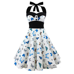 Vintage Rockabilly Style Sleeveless 3D Skull Floral Printed Halter Party Dress