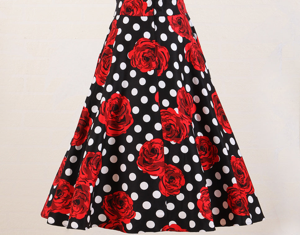 Polka Dot Red Rose Floral High Waist Skirt