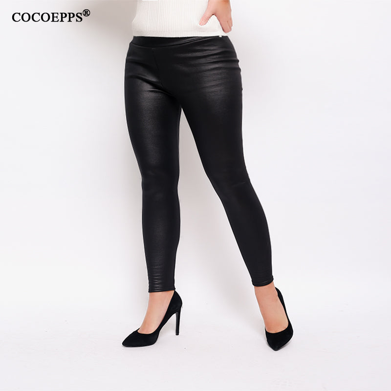 Plus Size Leather Pencil Leggings Leggings