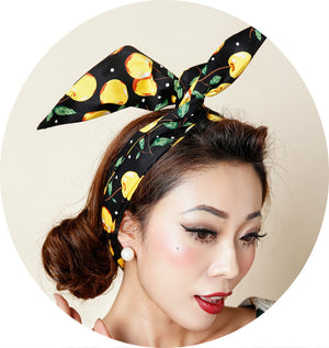 Vintage Yellow Cherry Print Head Scarf Headband