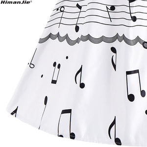 Music Note Print in Halter Swing Dress