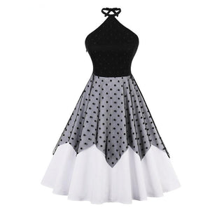 Halter in Lace Dot Print Dress