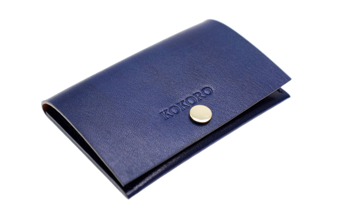 PERSONALISED LUXURY NAVY BLUE VEG TAN LEATHER BUSINESS CARD HOLDERS ...