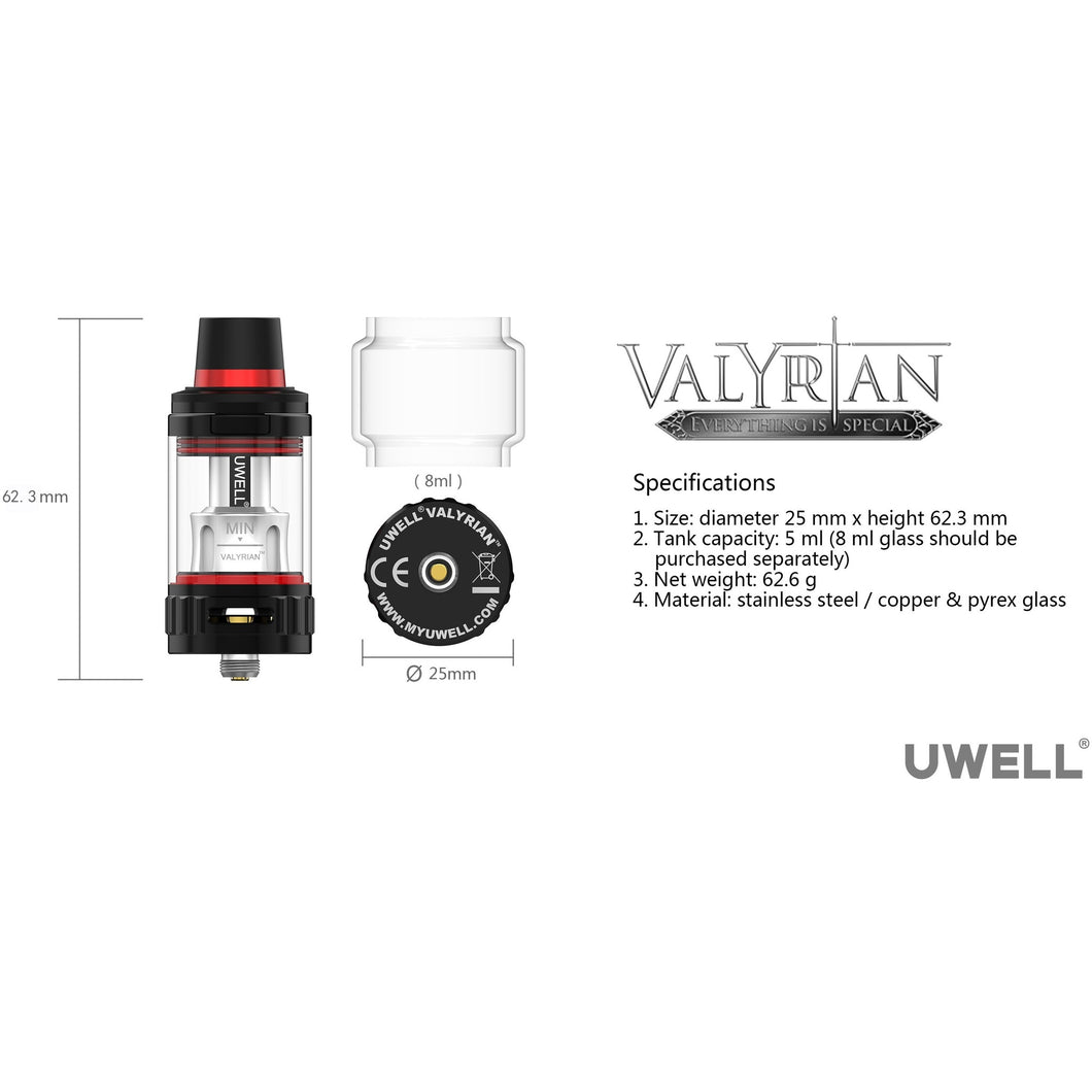 VALYRIAN REPLACEMENT 5ML/ 8ML GLASS BY UWELL Replacement Glass Uwell