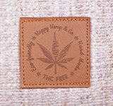 Logo Hemp Leaf  on Vegan Faux leather patch