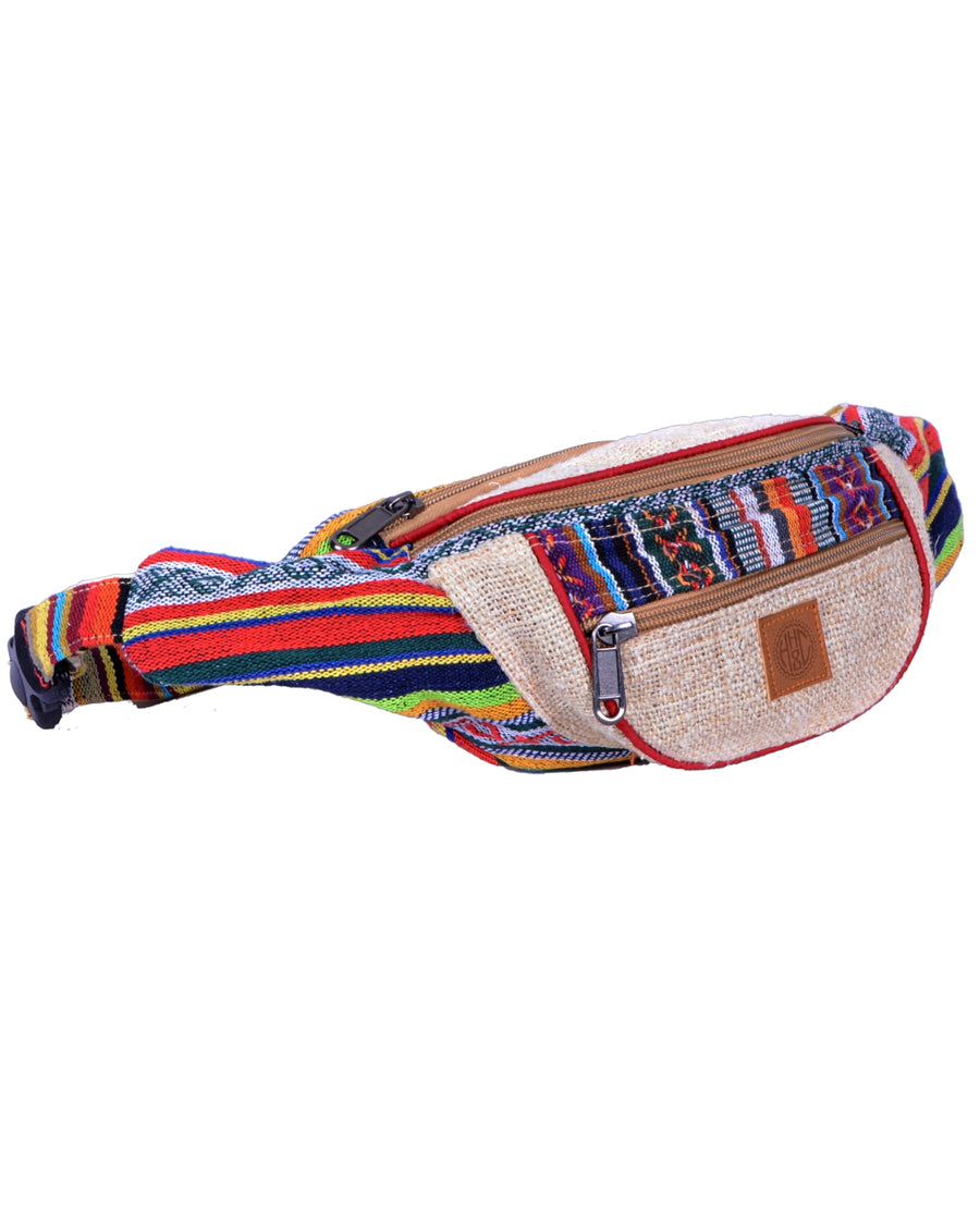 Bumbag also called funny bag, this is an hand made hemp and coton accessories. Candy cane colorful patterns, it is an eco friendly product