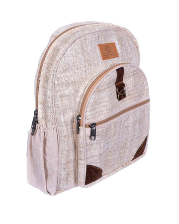 left side of the large white pure hemp classic backpack. This is an eco friendly, ultra resistant hand made bag, with vegan leather patch.