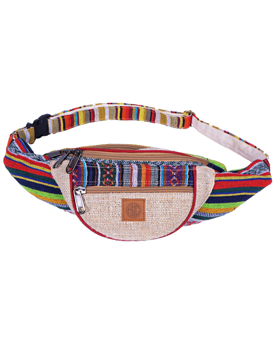 face of candycane Bumbag also called funny bag, this is an hand made hemp and coton accessories. Colorful patterns, it is an eco friendly product