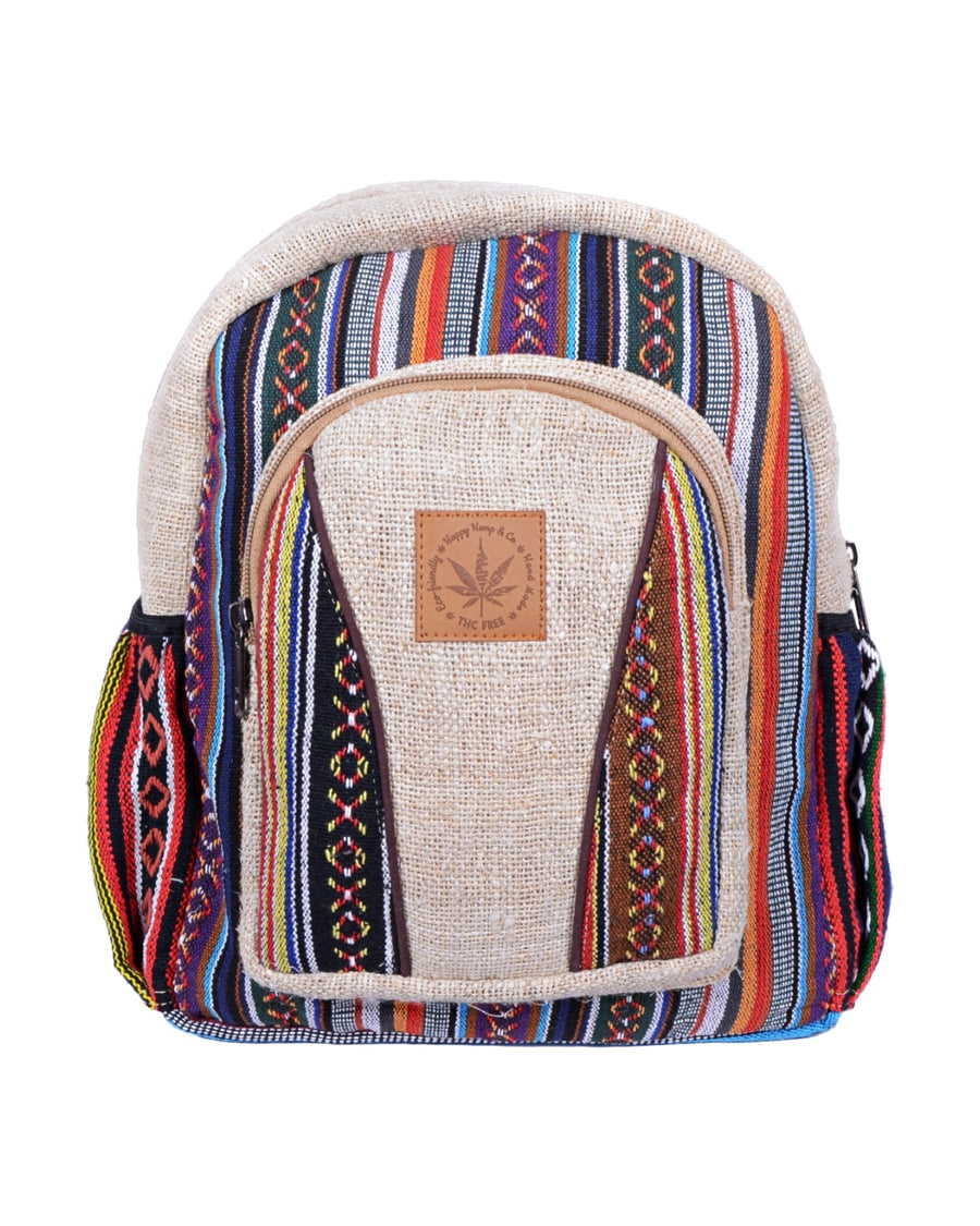 face of the candycane medium size backpack. Colorfull patterns, mixed hemp and coton and eco friendly product