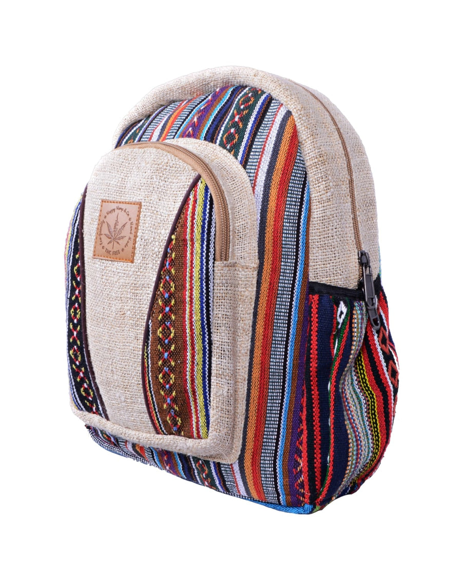 right side candycane medium size backpack. Colorfull patterns, mixed hemp and coton and eco friendly product