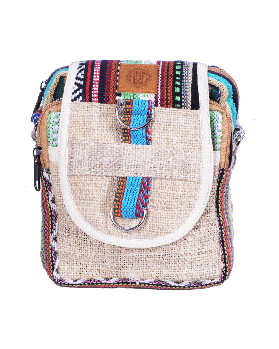 face of the candy cane side bag. Colorful hemp and coton accessories, this product is hand made and eco-friendly