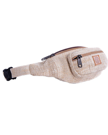 left side of the raw white classic bumbag, also called fanny pack. This product is eco friendly, hand made out of pure hemp, with natural colors.