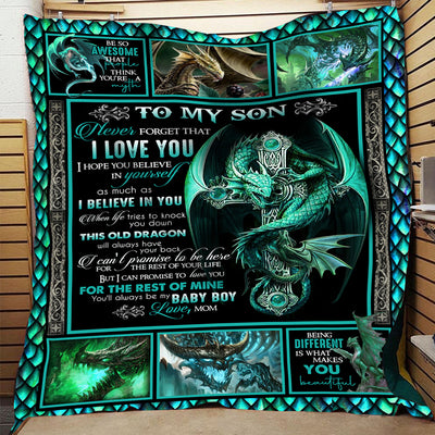 Blue dragon to my son don/'t let today/'s trouble bring you down love mom blanket