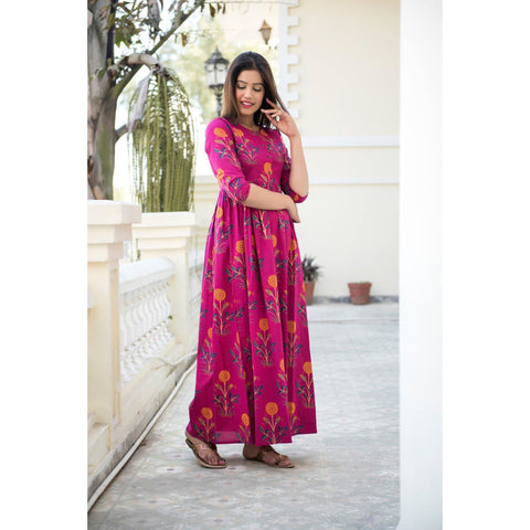 Pink Mughal Butta Hand Block Printed Maxi Dress