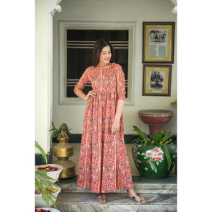 Wild Flower Hand Block Printed Maxi Dress In Tea Rose