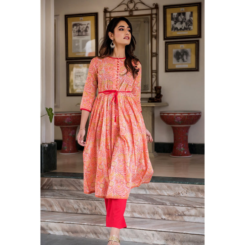 Orange Rush Block Printed Suit Set With Belt