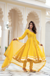 Yellow Gota Work Anarkali With Cotton Dupatta