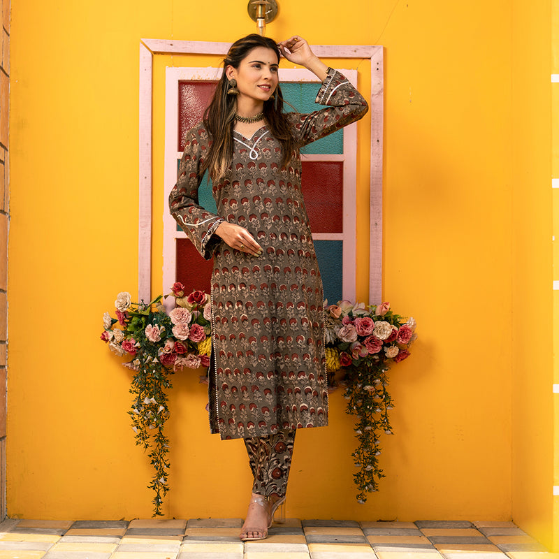 RED GREY DESERT MARYGOLD HANDBLOCK KURTA
