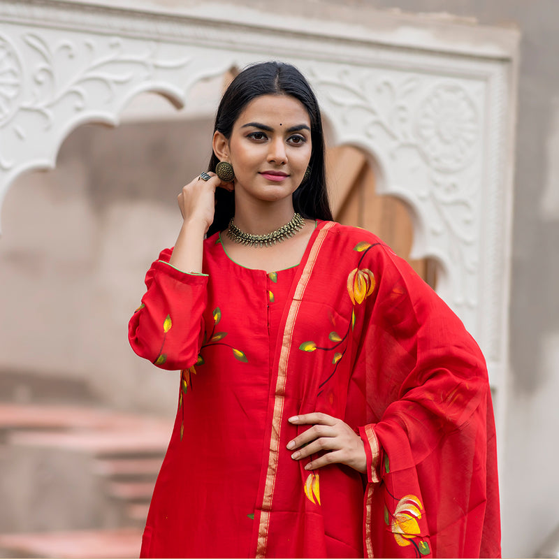 Lotus Hand Art Deep Red Chanderi Suit
