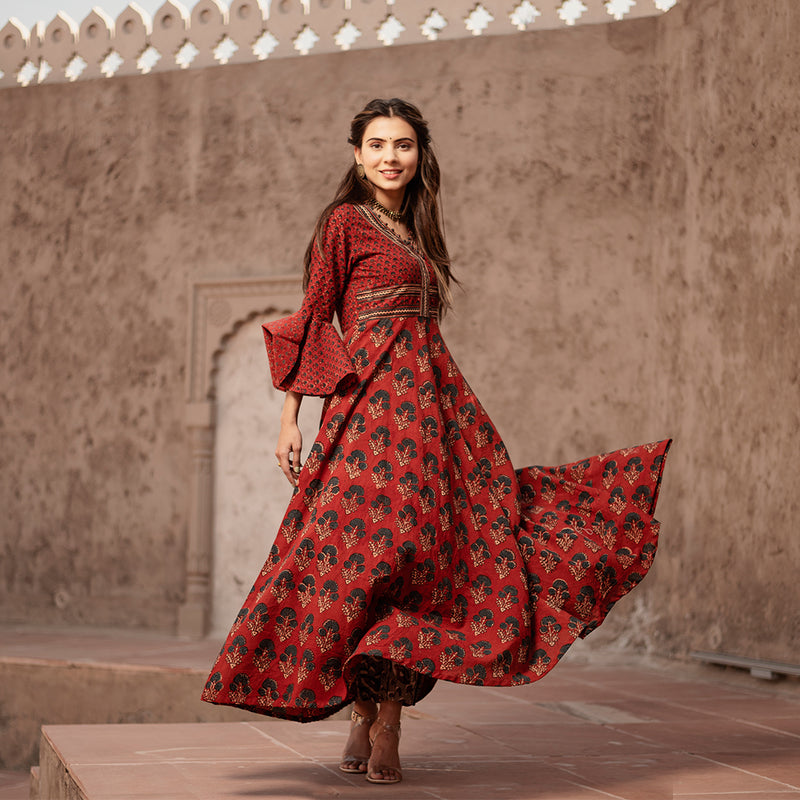 MAROON FAIRYTALE AJRAK HANDBLOCK DRESS