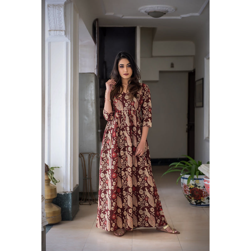 Hand Block Printed Peacock Maxi Dress In Brown