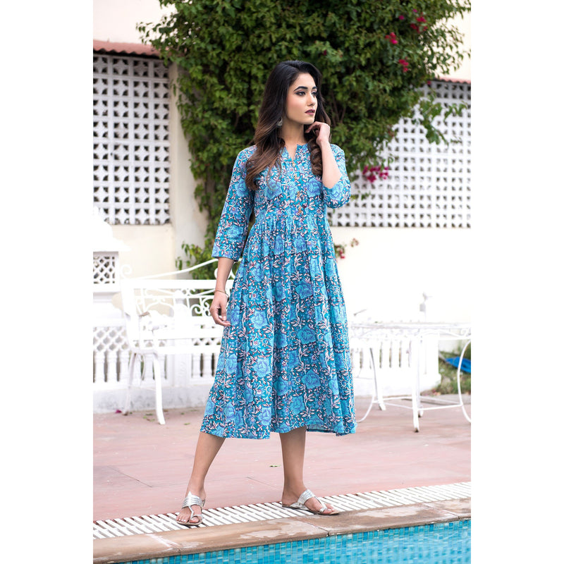 Short Length Block Printed Day Dress In Teal