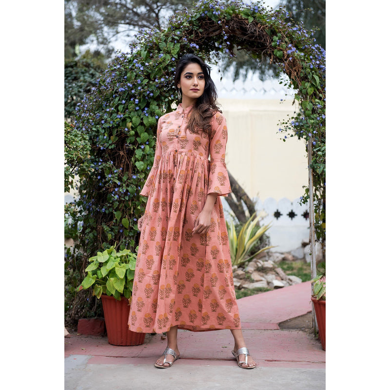Flared Sleeves Cotton Block Printed Maxi Dress In Peach
