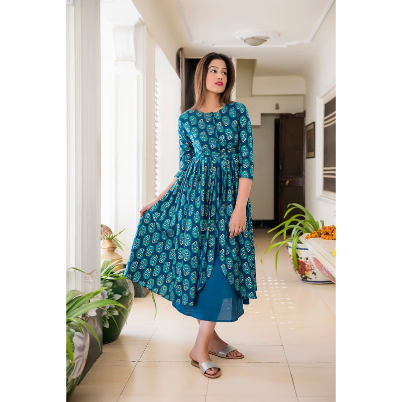 Turquoise Long Slit Block Printed Maxi Dress With Golden Motifs