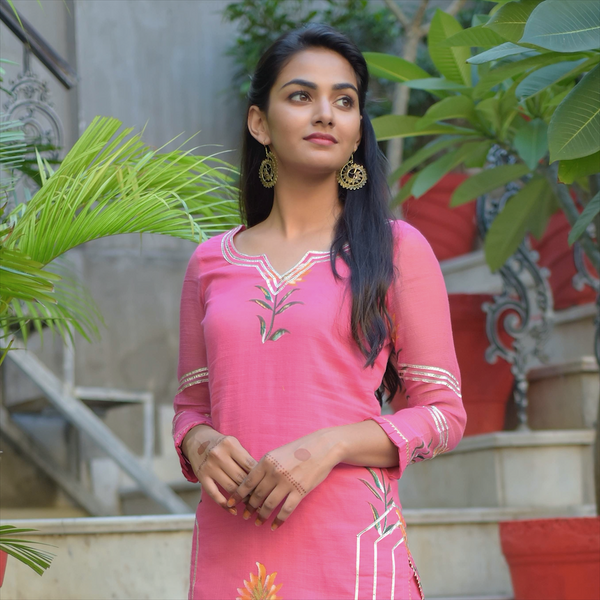 Pink Hand Painted Kota Doriya Suit Set