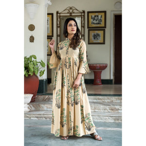 Hand Block Printed Button Maxi Dress In Khaki