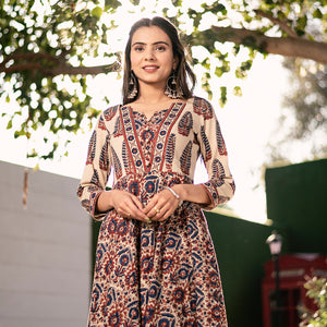 IVORY BLUE AJRAKH HANDBLOCK VINTAGE DRESS
