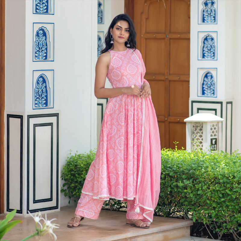 Pink Bandhani Suit Set