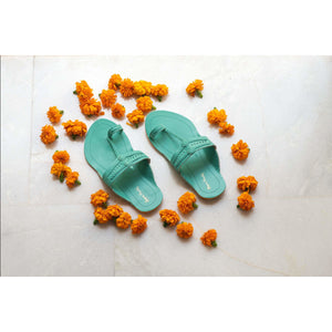 Turquoise Handcrafted Leather Kolhapuris