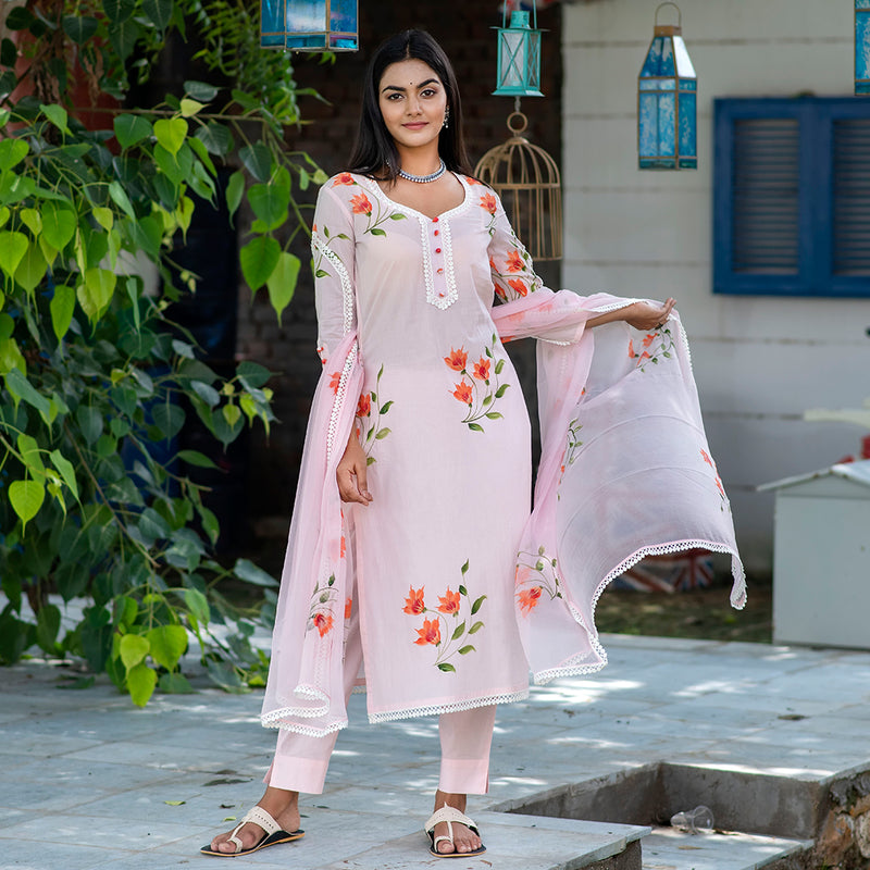 Blossom Pink Artsy flora Suit